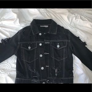 LF distressed black jean jacket